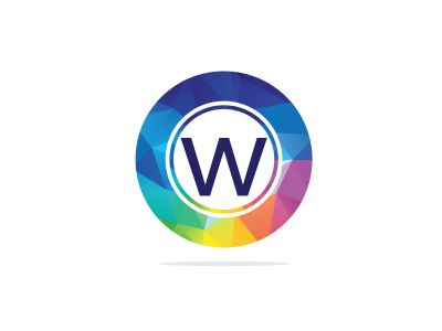 w Letter colorful logo in the hexagonal. Polygonal letter w