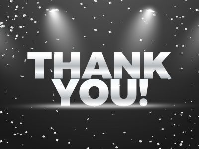 Thank you vector banner design. Silver shine thank you text on black background.