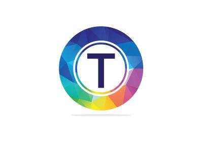 T Letter colorful logo in the hexagonal. Polygonal letter T