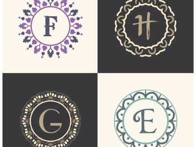 Cosmetics and beauty product brand letters F and H logo design. G and E vector letter mandala monogram.