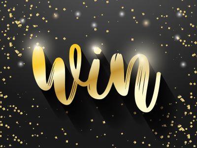 Win sign vector banner design, Golden win text.