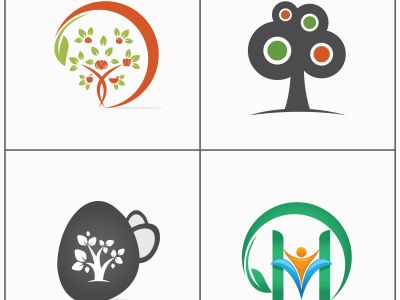 Health and care tree vector logo design. Zen massage center icon. Herbal product illustrations. organic and pharmacy logos set.