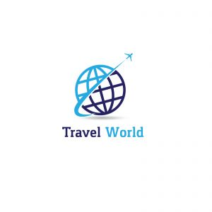 Travel logo design. Airplane in globe vector illustration. World tour and tourism symbol.