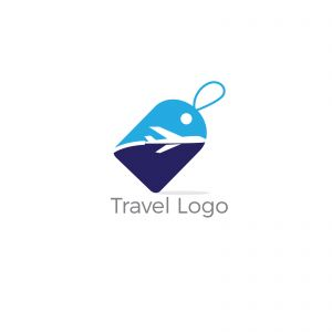 Travel logo design. Airplane in tag vector illustration. World tour and tourism symbol.