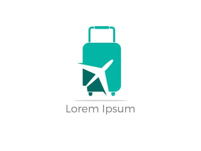 Travel logo design. Airplane in bag vector illustration. World tour and tourism symbol.