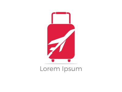 Travel logo design. Airplane in bag vector illustration. World tour and tourism symbol.