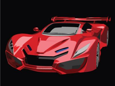 Sports Red Car Vector
