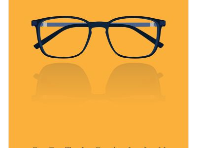 Vector illustration of a glasses icon in flat style.