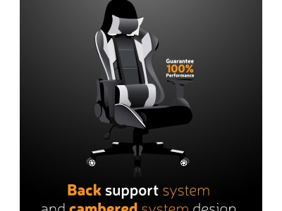 Comfortable computer chair for gamers  illustration