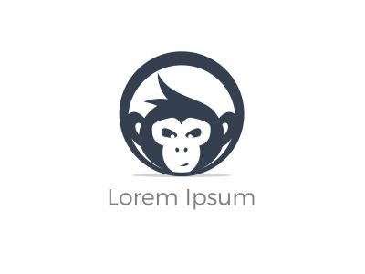 Monkey in circle logo design, monkey vector icon, animal illustration