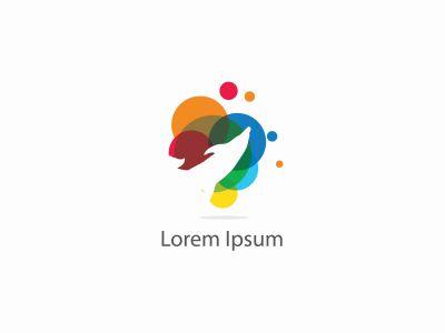 dolphin vector logo design, colorful, sea life, friendly, circle, freedom illustration