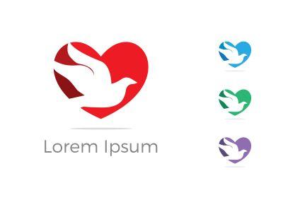 bird logo,heart , fly, love, care illustration