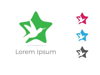 bird logo,star , fly, love, care illustration