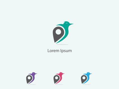 eagle bird with location icon vector logo design in circle, hawk icon illustration.
