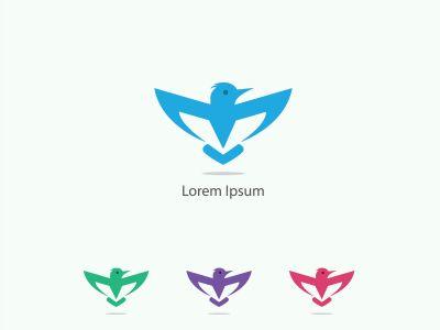 birds vector logo design, green, hummingbird, flying bird, friendly, wildlife illustration