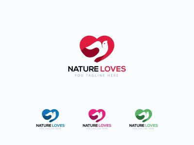 nature loves vector logo design, red, green, pink, heart, love, peace, care illustration