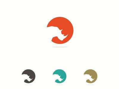 Rhino logo vector, colorful illustration