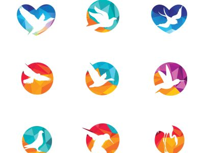 colorful birds vector logo design, freedom, happiness, fly, in circle , heart hummingbird, flying duck illustration