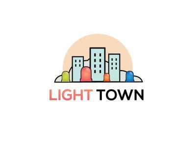 Light town vector illustration, city construction logo design.
