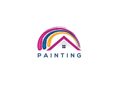 Paint home sign icon. Painting tool symbol. rainbow color home illustration.