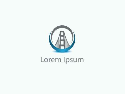 Building logo, construction working industry concept.- Bridge Vector illustration