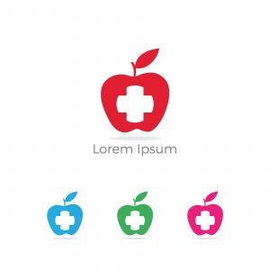 Low poly Restaurant Logo, baby food, health care and organic Food Industry, takeaway vector icon, spoons in apple baking. herbal diet food heart illustration.
