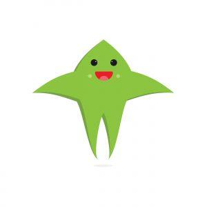 Cute green cartoon vector flat design on white background.
