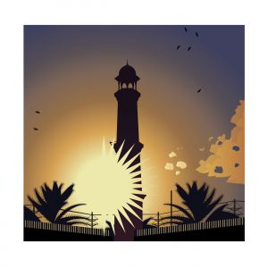 Lighthouse in sunset illustration with birds. Vector illustration.