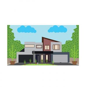 Illustration of cute colorful house with trees. Vector flat illustration.