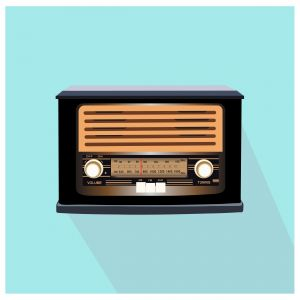 Retro radio illustration with light blue background. Vector illustration.