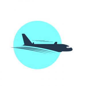 Airplane vector illustration, logo design. Passenger plane icon.