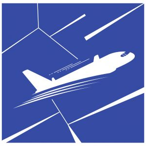 Airplane vector illustration, travel logo design. Passenger plane icon.