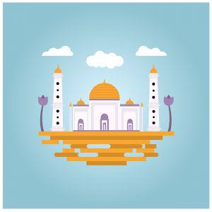 Islamic Mosque illustration on blue background. Vector illustration.