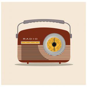 Retro radio illustration with light orange background. Vector illustration.