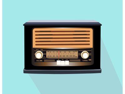 Retro radio illustration with light blue background. Vector illustration.