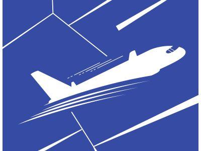 Airplane vector illustration, travel logo design. Passenger plane icon.