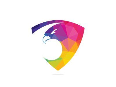 Eagle with shield logo design. Creative and modern eagle bird logo vector.