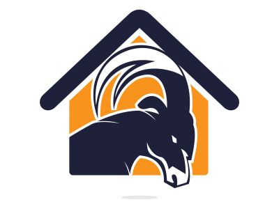 Goat And Home Logo Design. Mountain goat vector logo design.