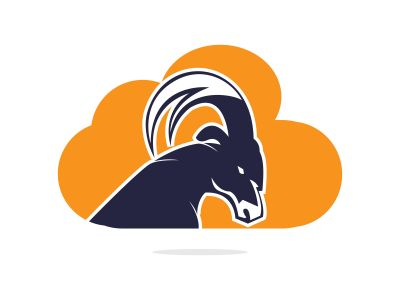 Goat And Cloud Logo Design. Mountain goat vector logo design.