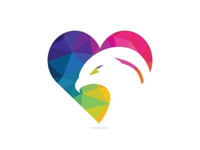 Eagle Logo abstract Heart shape. Falcon or hawk heart shape logo concept.