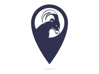 Goat vector logo with gps pointer design. Goat and GPS vector logo design template.