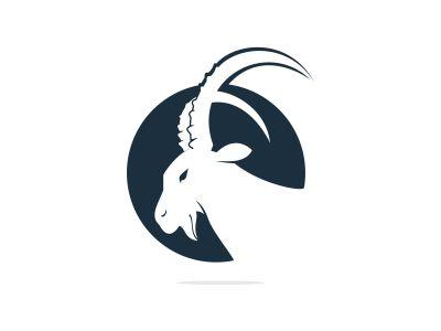 Goat Simple Logo Template Design. Mountain goat vector logo design.