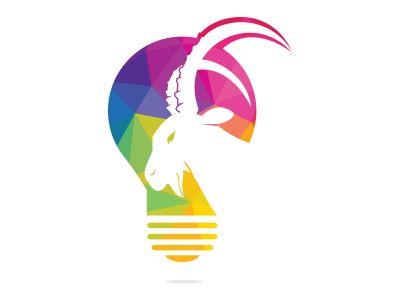 Goat light bulb logo design. Creative idea concept design.