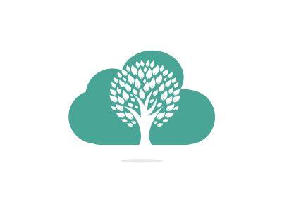 Cloud Tree vector logo design. Ecology Happy life Logotype concept icon.