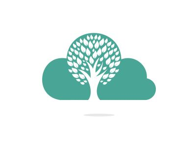Cloud Tree vector logo design. Ecology Happy life Logotype concept icon.