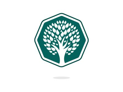 Green tree logo design. Abstract organic element vector design. Ecology Happy life Logotype concept icon.