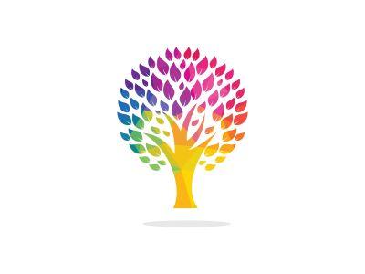 Green tree logo design. Abstract organic element vector design. Ecology Happy life Logotype concept icon.