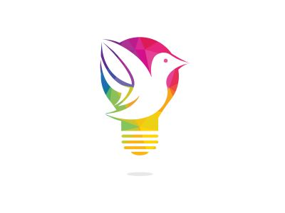 Bird light bulb logo design. Creative idea concept design.
