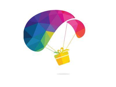 Gift delivery vector logo design. Parachute gift delivery concept emblem.