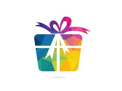Gift box vector logo design. illustration of gift box present, greeting, surprise. Greeting box or wrap gift box.